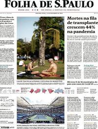Capa do jornal Folha de S.Paulo 14/09/2020