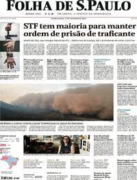Capa do jornal Folha de S.Paulo 15/10/2020