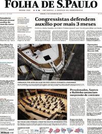 Capa do jornal Folha de S.Paulo 17/10/2020