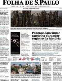 Capa do jornal Folha de S.Paulo 18/09/2020