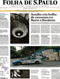 Capa do jornal Folha de S.Paulo 18/10/2020