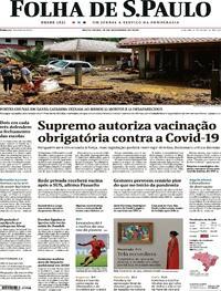 Capa do jornal Folha de S.Paulo 18/12/2020