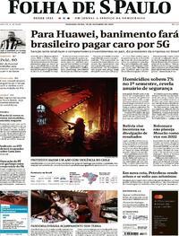 Capa do jornal Folha de S.Paulo 19/10/2020