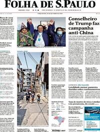 Capa do jornal Folha de S.Paulo 20/10/2020