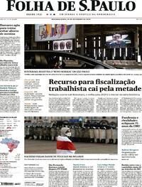 Capa do jornal Folha de S.Paulo 21/09/2020