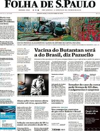 Capa do jornal Folha de S.Paulo 21/10/2020