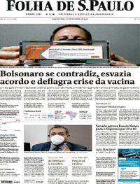 Capa do jornal Folha de S.Paulo 22/10/2020