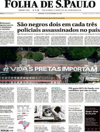 Capa do jornal Folha de S.Paulo 22/11/2020