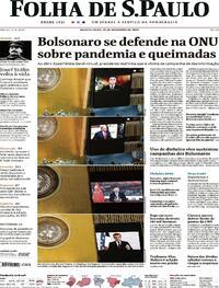 Capa do jornal Folha de S.Paulo 23/09/2020