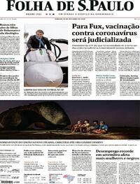 Capa do jornal Folha de S.Paulo 24/10/2020