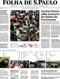 Capa do jornal Folha de S.Paulo 24/12/2020