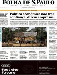 Capa do jornal Folha de S.Paulo 25/10/2020