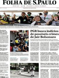 Capa do jornal Folha de S.Paulo 26/05/2020