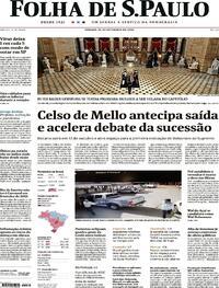 Capa do jornal Folha de S.Paulo 26/09/2020