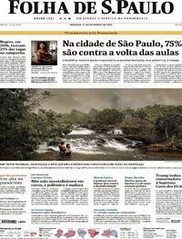 Capa do jornal Folha de S.Paulo 27/09/2020