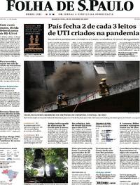 Capa do jornal Folha de S.Paulo 28/10/2020