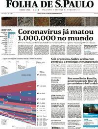 Capa do jornal Folha de S.Paulo 29/09/2020