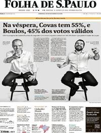 Capa do jornal Folha de S.Paulo 29/11/2020