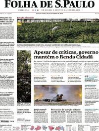 Capa do jornal Folha de S.Paulo 30/09/2020