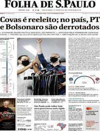 Capa do jornal Folha de S.Paulo 30/11/2020