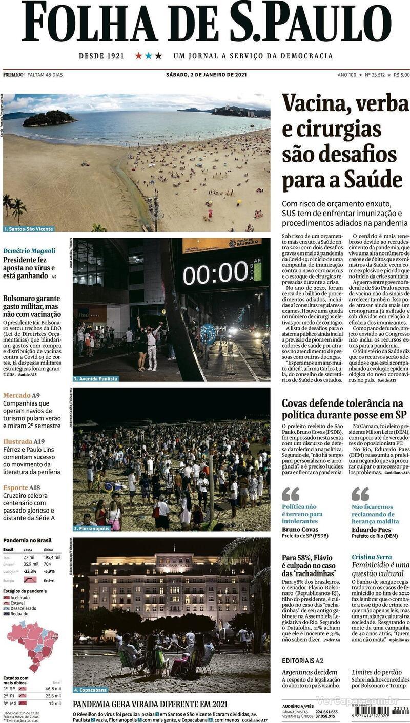 Capa do jornal Folha de S.Paulo 02/01/2021