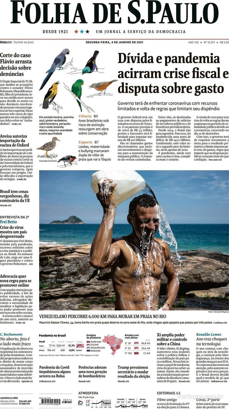 Capa do jornal Folha de S.Paulo 04/01/2021