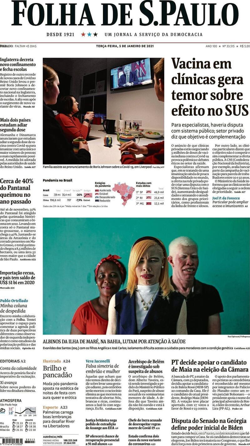 Capa do jornal Folha de S.Paulo 05/01/2021