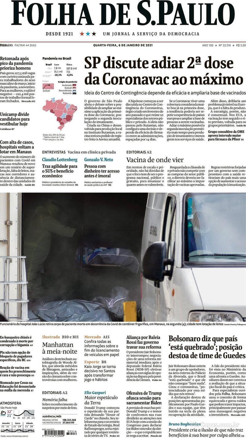 Capa do jornal Folha de S.Paulo 06/01/2021