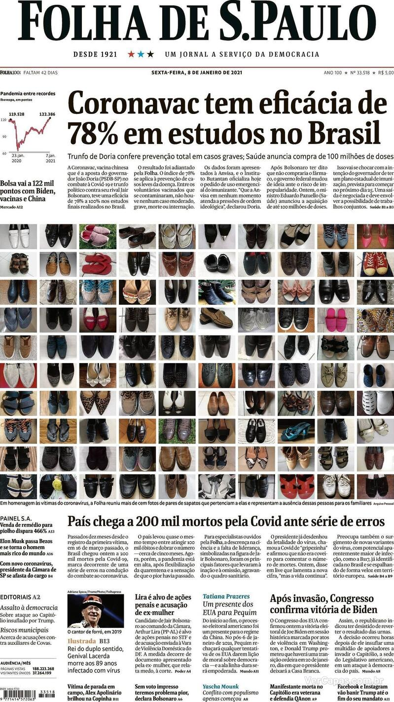 Capa do jornal Folha de S.Paulo 08/01/2021
