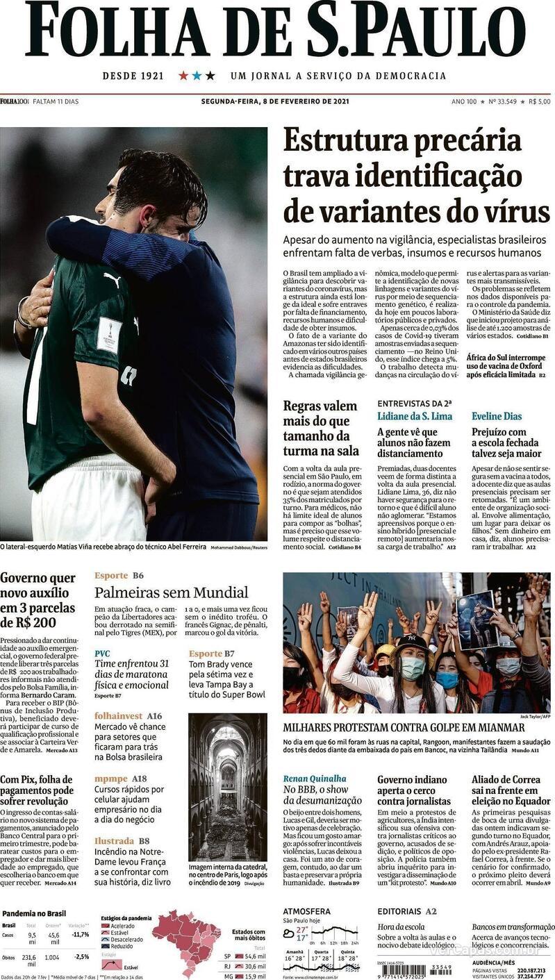 Capa do jornal Folha de S.Paulo 08/02/2021