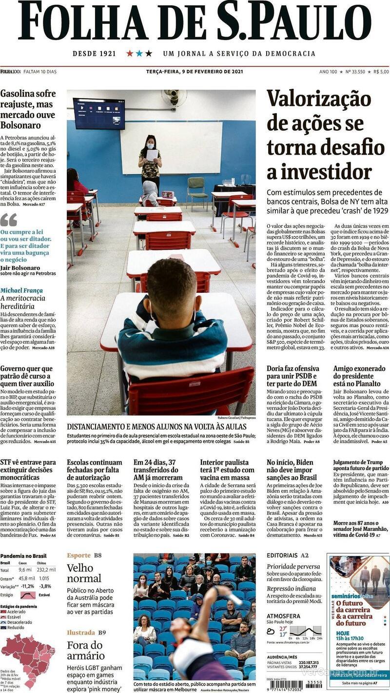 Capa do jornal Folha de S.Paulo 09/02/2021