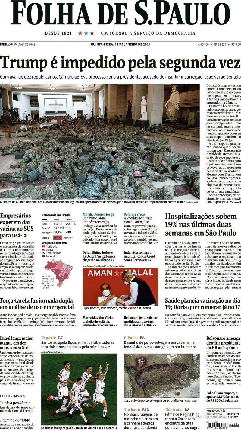 Capa do jornal Folha de S.Paulo 14/01/2021