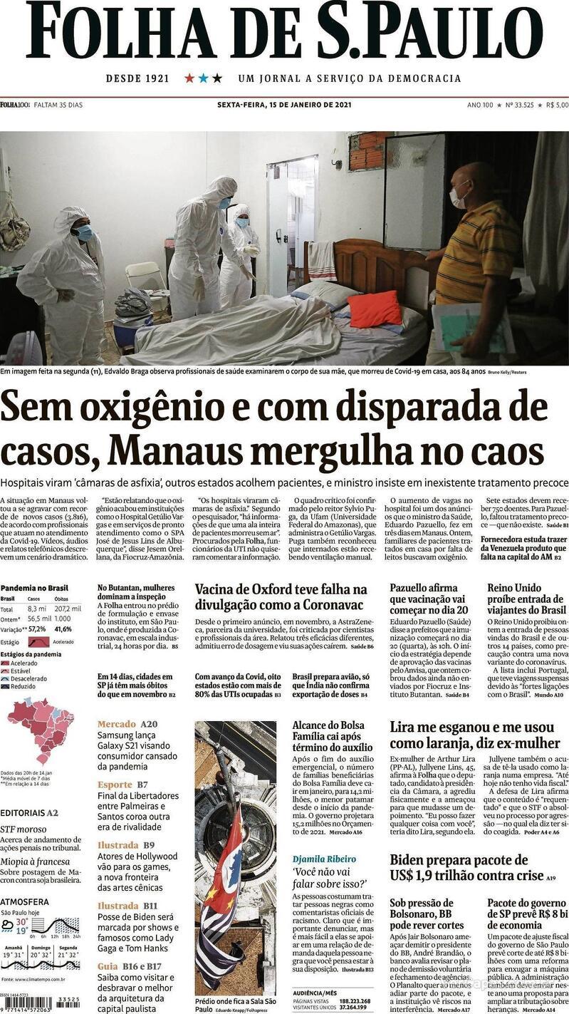 Capa do jornal Folha de S.Paulo 15/01/2021