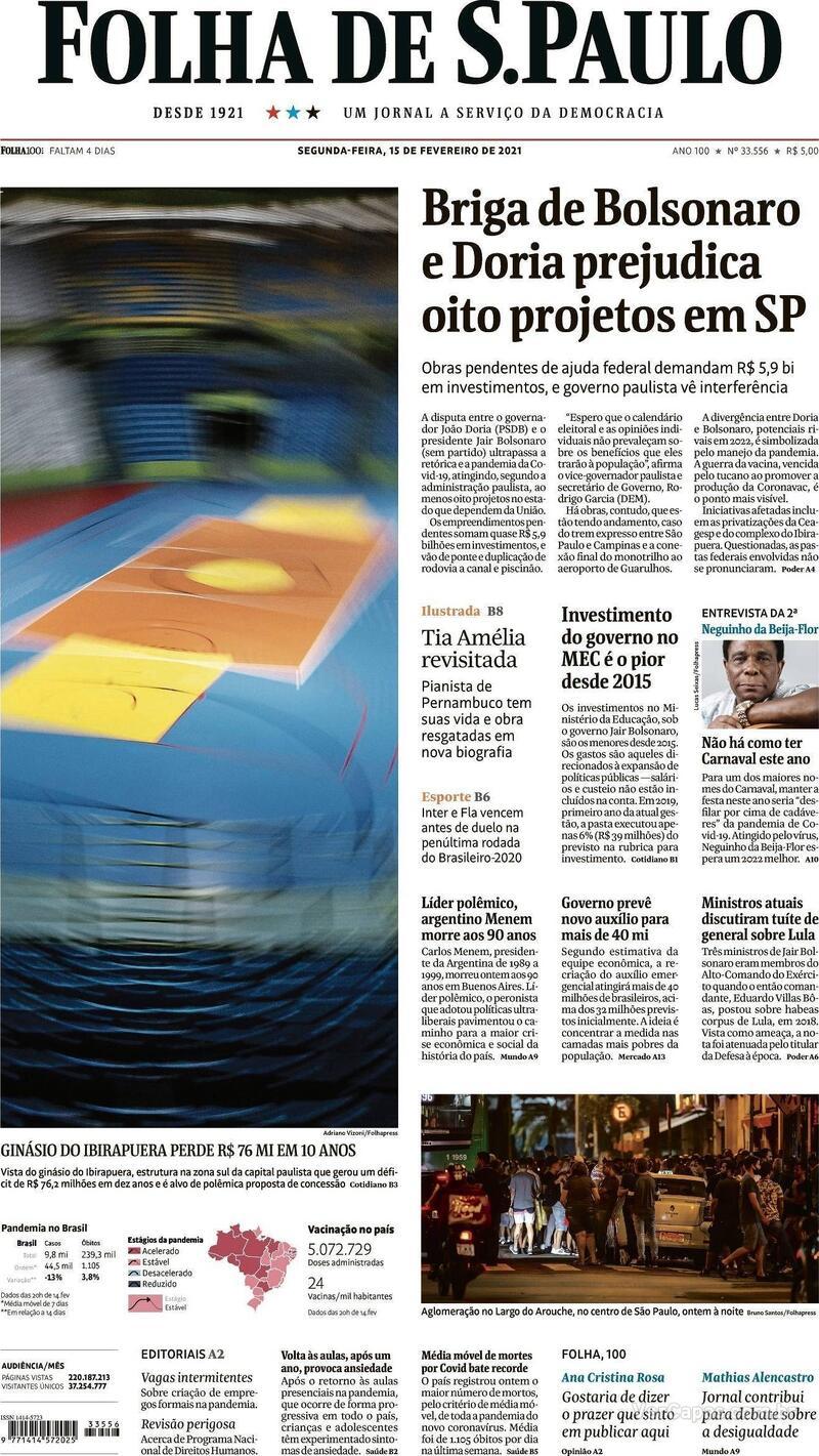 Capa do jornal Folha de S.Paulo 15/02/2021