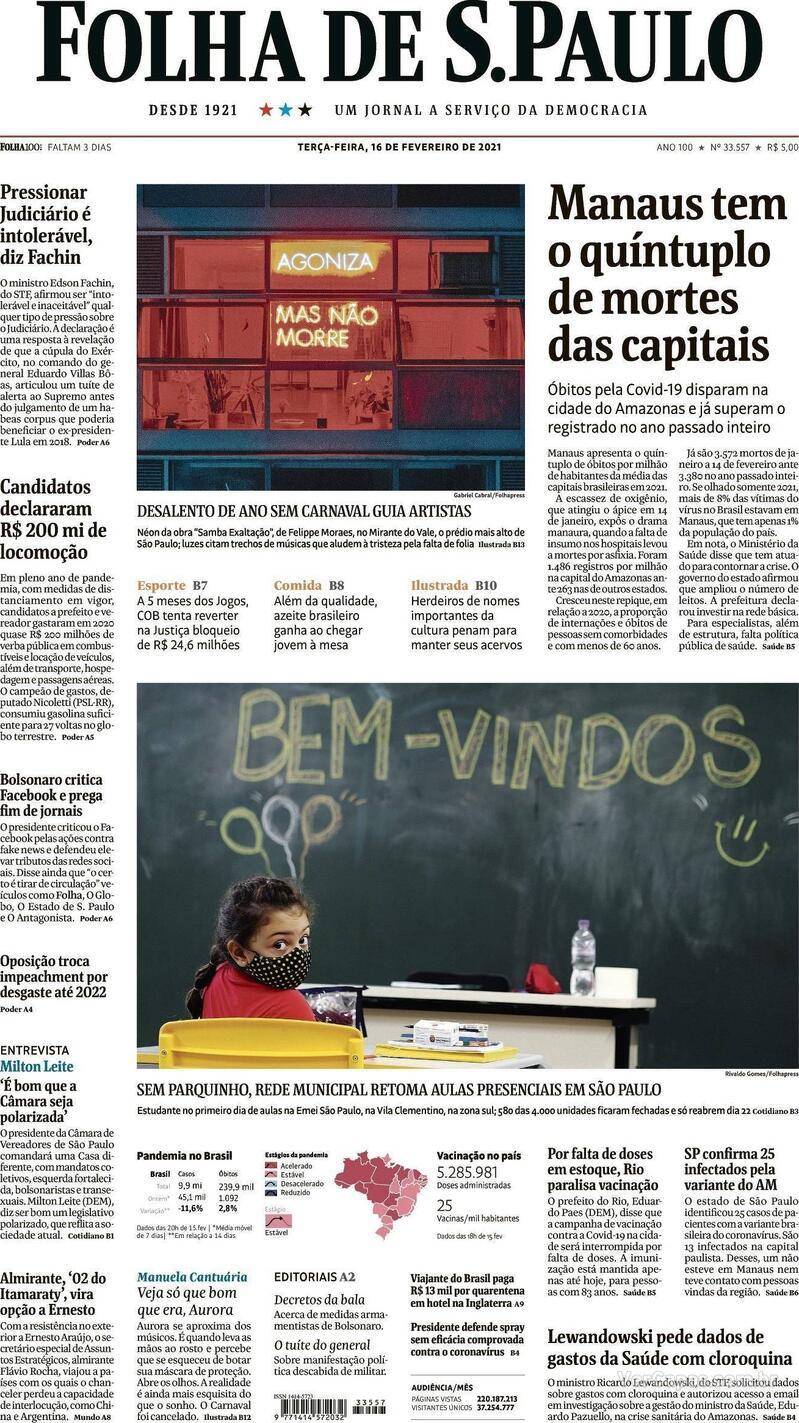 Capa do jornal Folha de S.Paulo 16/02/2021