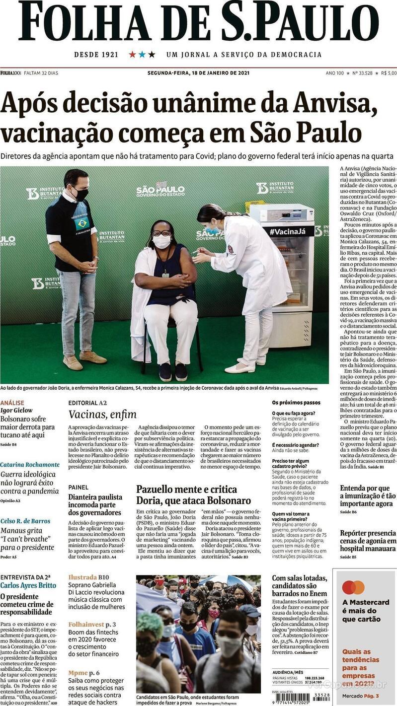 Capa do jornal Folha de S.Paulo 18/01/2021