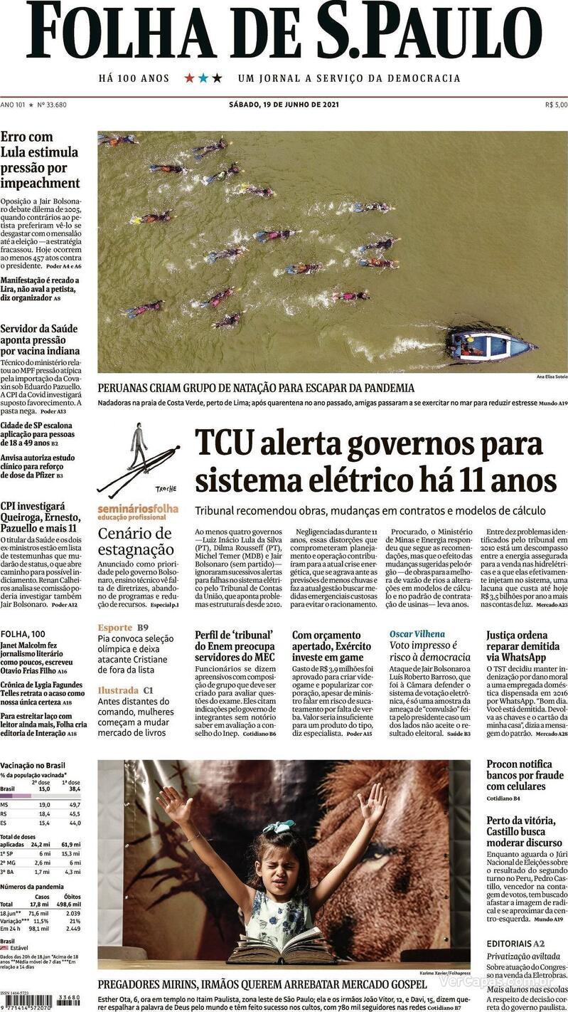 Capa do jornal Folha de S.Paulo 19/06/2021