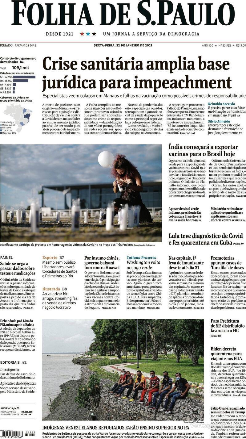 Capa do jornal Folha de S.Paulo 22/01/2021
