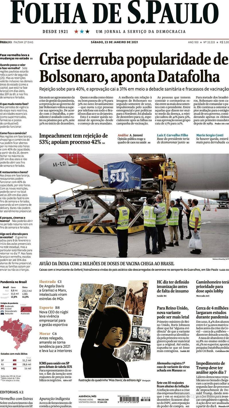 Capa do jornal Folha de S.Paulo 23/01/2021