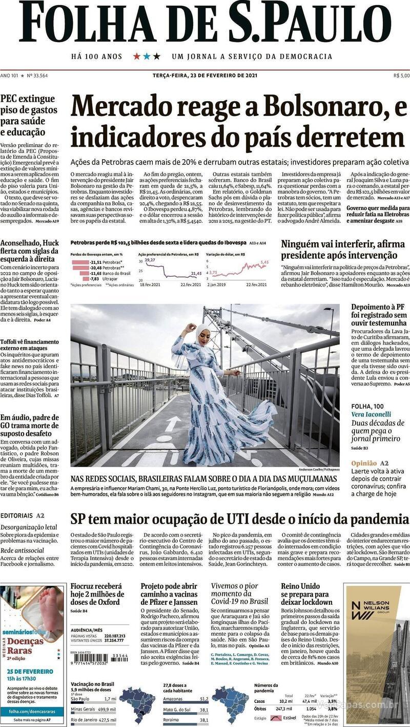 Capa do jornal Folha de S.Paulo 23/02/2021