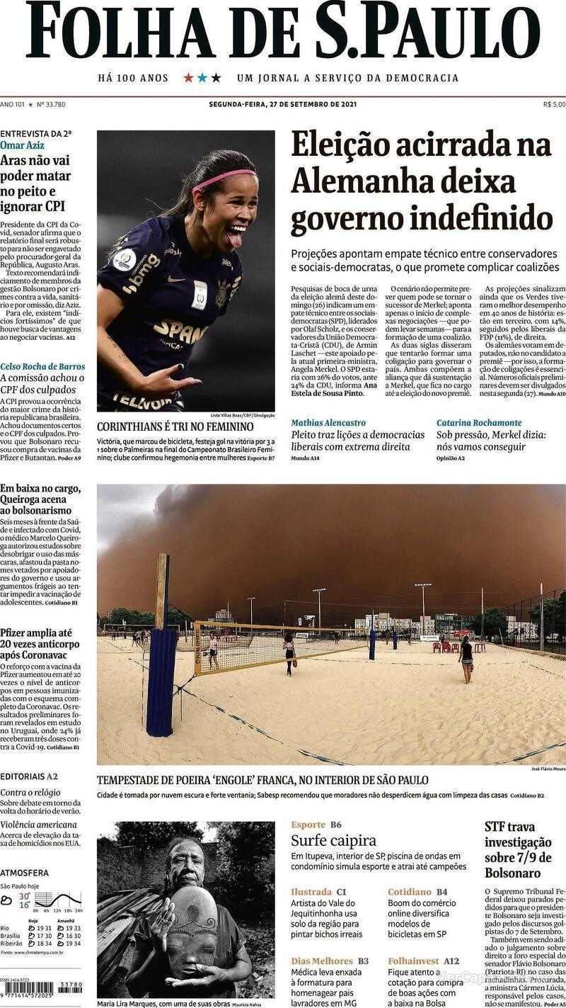 Capa do jornal Folha de S.Paulo 27/09/2021