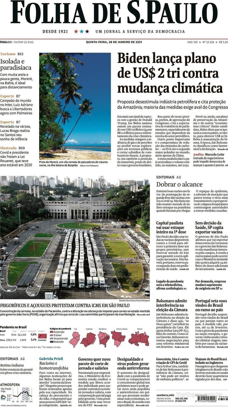 Capa do jornal Folha de S.Paulo 28/01/2021