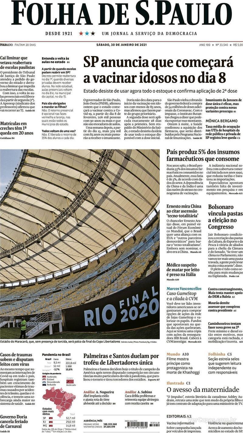 Capa do jornal Folha de S.Paulo 30/01/2021