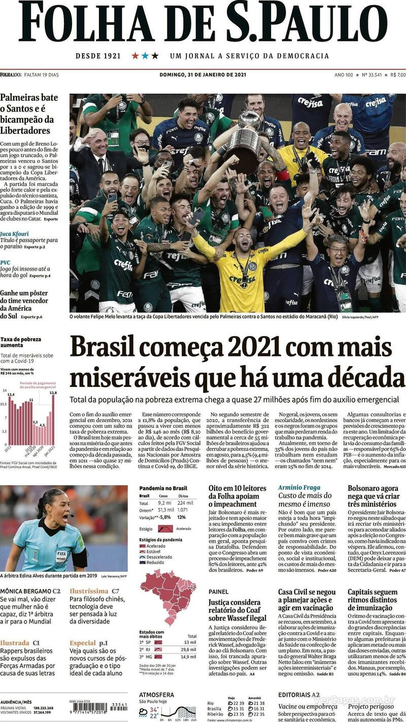 Capa do jornal Folha de S.Paulo 31/01/2021