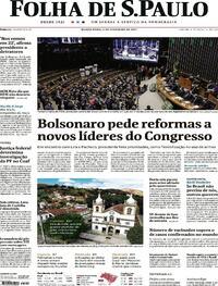 Capa do jornal Folha de S.Paulo 04/02/2021