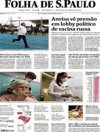 Capa do jornal Folha de S.Paulo 05/02/2021