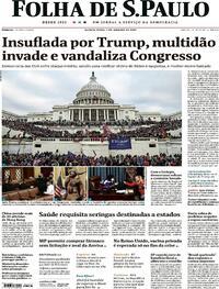 Capa do jornal Folha de S.Paulo 07/01/2021