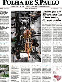 Capa do jornal Folha de S.Paulo 09/01/2021
