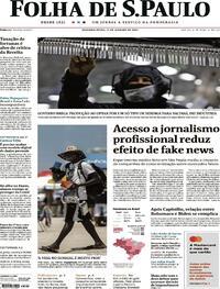 Capa do jornal Folha de S.Paulo 11/01/2021