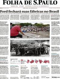 Capa do jornal Folha de S.Paulo 12/01/2021